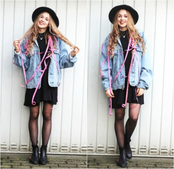 Hipster Outfits: denim jacket, black dress, black tights, black booties, black wide brim hat, necklace #outfitideas #smile #hipster #girl