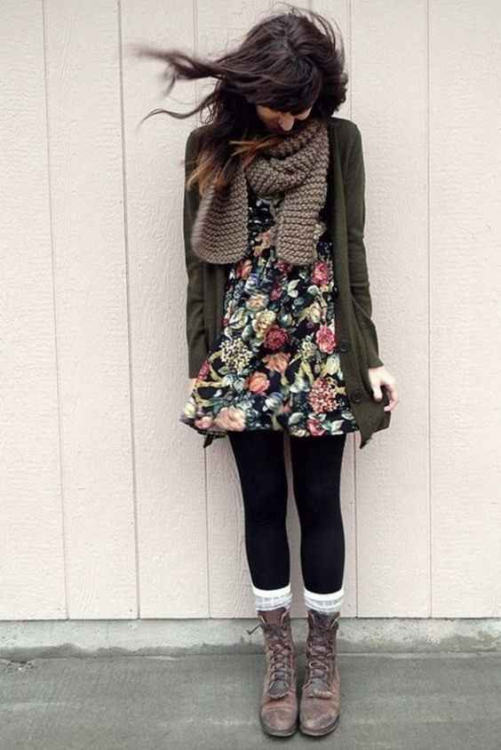 Hipster Outfit: army green cardigan, black floral dress, brown scarve, black tights, white socks, brown army boots #outfit #brunette #floral #hipster