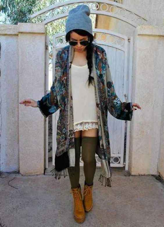 Hipster Outfit: gray winter hat, white lace mini dress, gray floral kimono, army green knee high socks, camel booties, sunglasses #outfitideas #kimono #hipster #braidhair