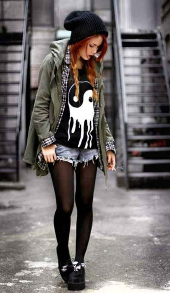 Hipster Outfits: black winter hat, black -shirt, army green jacket, denim ripped shorts, black tights, black martens shoes #outfit #hipster #redhair #braidhair