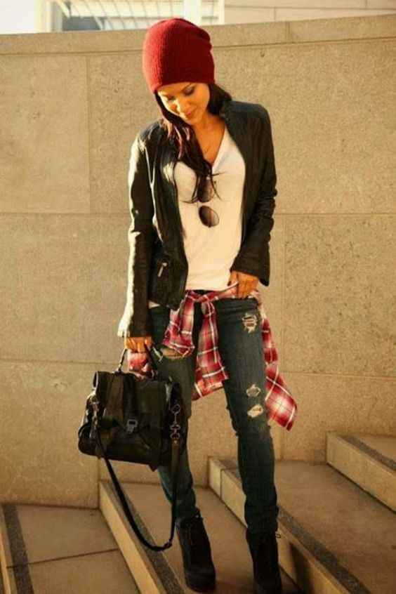 Hipster Outfit: black faux leather jacket, white top, red lumberjack shirt, ripped jeans, black booties, red winter hat, black bag, sunglasses #outfitoftheday #brunette #red #chic