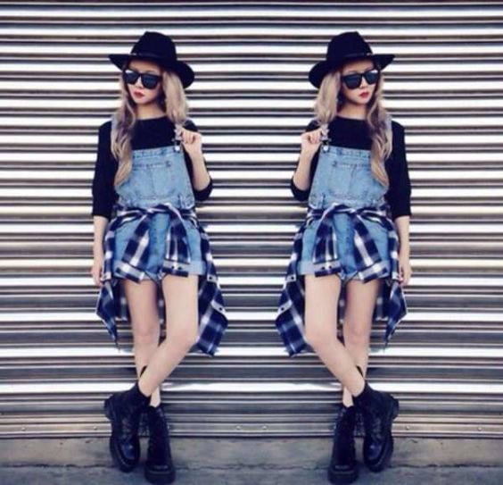 Hipster Outfits: black cowgirl hat, black half sleeve top, denim overall shorts, black and white lumberjack shirt, black army boots, sunglasses #outfitoftheday #black #cowgirl #hipster