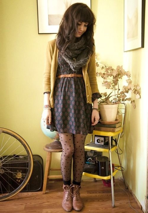 Hipster Outfits: yellow cardigan, gray dress, black heart tights, brown booties, black socks, camel belt, bracelets, gray scarve #outfit #girl #fashion #hipster