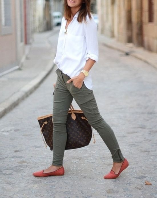 Interview Outfit: white half sleeve shirt, army green skinny pants, orange flat shoes, brown handbag, watch #outfitideas #interviewoutfit #fashion #trendy