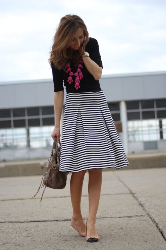 Interview Outfit: black half sleeve shirt, black and white striped circle skirt, nude flat shoes, fuchsia necklace, watch, brown handbag #outfitoftheday #fuchsia #women #fashion