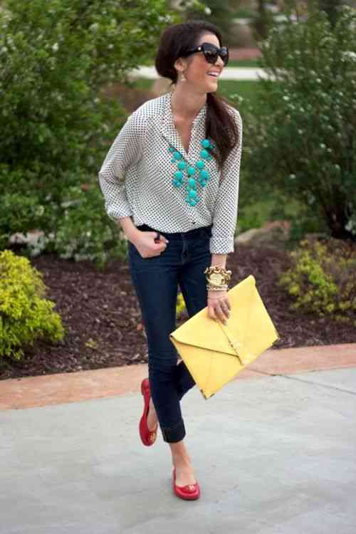 Interview Outfit: white long sleeve point print blouse, skinny jeans, red ballerina flats, bracelets, turquoise necklace, yellow purse, sunglasses #outfit #brunette #smile #work