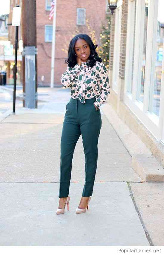 Interview Outfits: white floral lace front long sleeve blouse, green high waisted pants, nude heels, earrings #outfitoftheday #floral #elegant #fashion