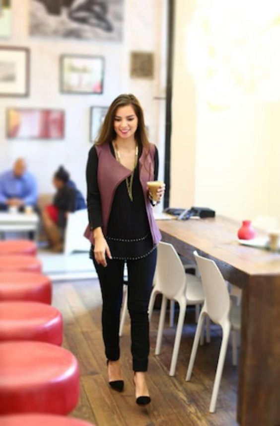 Interview Outfits: wine sleeveless jacket, black long sleeve peplum blouse, black skinny pants, black flat shoes, necklace #outfit #smile #work #trendy