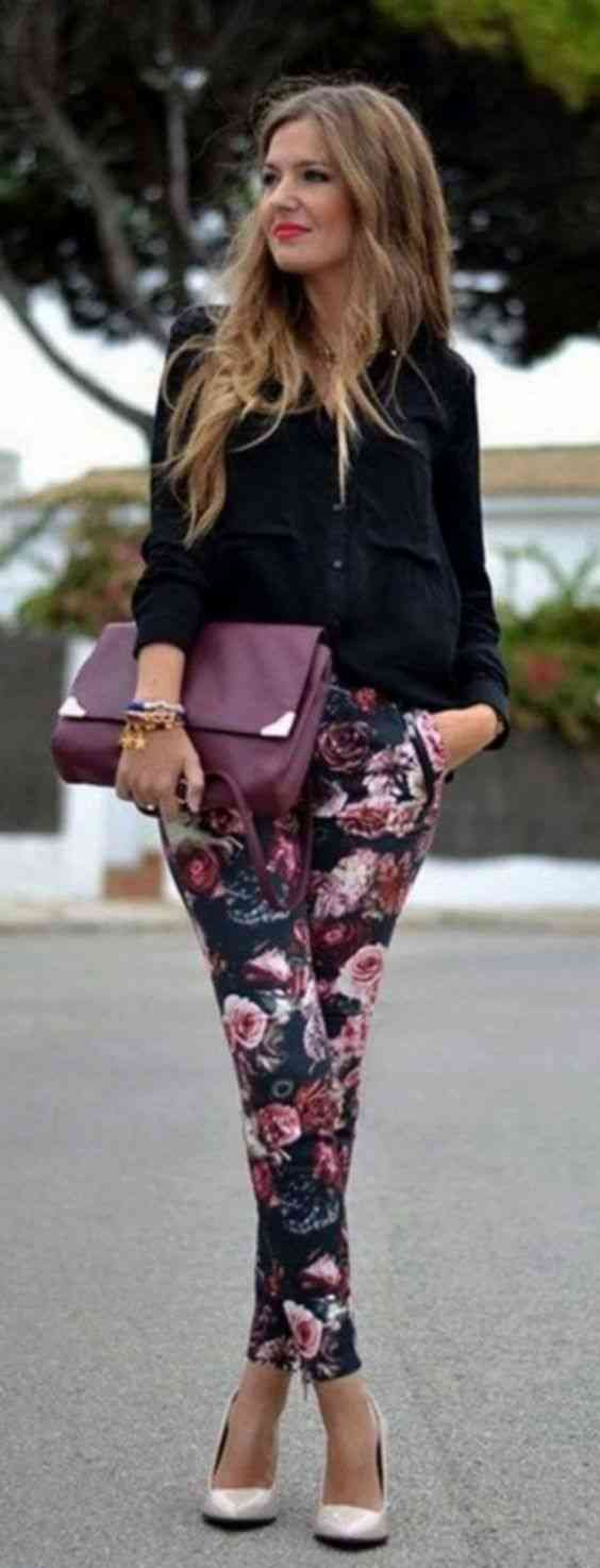 Interview Outfits: black long sleeve blouse, black floral skinny pants, nude heels, wine purse #outfitoftheday #trendy #fashion #floral