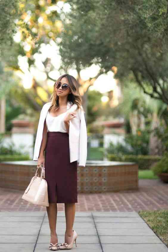 Interview Outfits: white coat, white v-neck top, wine pencil skirt, white handbag, nude heels, sunglasses #outfitideas #women #work #fashion