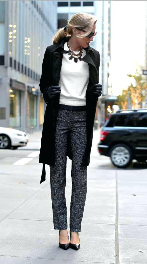 Interview Outfits: black coat, white top, gray skinny pants, black heels, necklace, sunglasses, black gloves #outfitoftheday #black #blonde #elegant