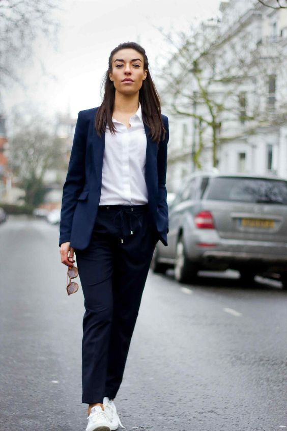 Interview Outfit: white shirt, navy blue blazer, navy blue pegged pants, white sneakers, sunglasses #outfitoftheday #navyblue #brunette #work