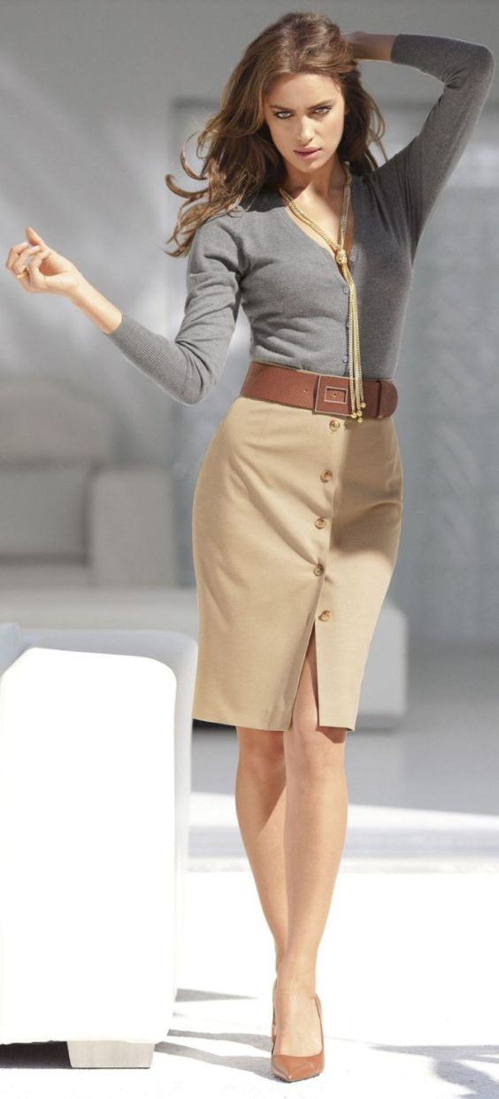 Interview Outfit: gray sweater, light brown pencil skirt, camel belt, camel heels, necklace #outfit #interviewoutfit #women #fashion