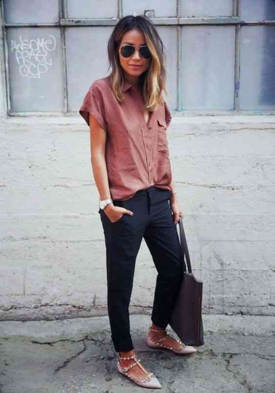 Interview Outfits: pink short sleeve shirt, black pegged pants, nude flats, gray handbag, watch, sunglasses #outfitideas #woman #pink #fashion
