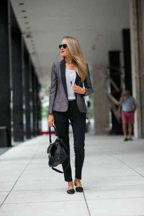 Interview Outfits: gray blazer, white top, black skinny pants, black handbag. necklace, black flat shoes, sunglasses #outfitoftheday #blonde #professional #trendy