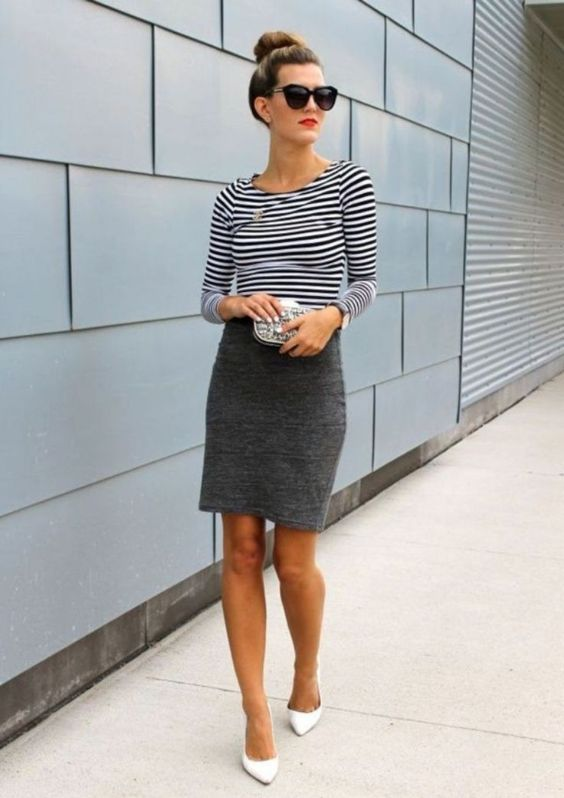 Interview Outfits: black and white striped long sleeve shirt, gray pencil skirt, white pump heels, sunglasses, watch, gray purse #outfit #blackandwhite #makeup #chic
