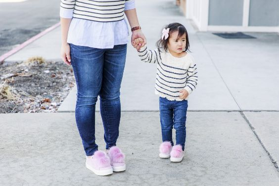 Mommy And Me Outfit: black and white striped peplum blouse, skinny jeans, pink sneakers #outfit #pink #babygirl #mommy