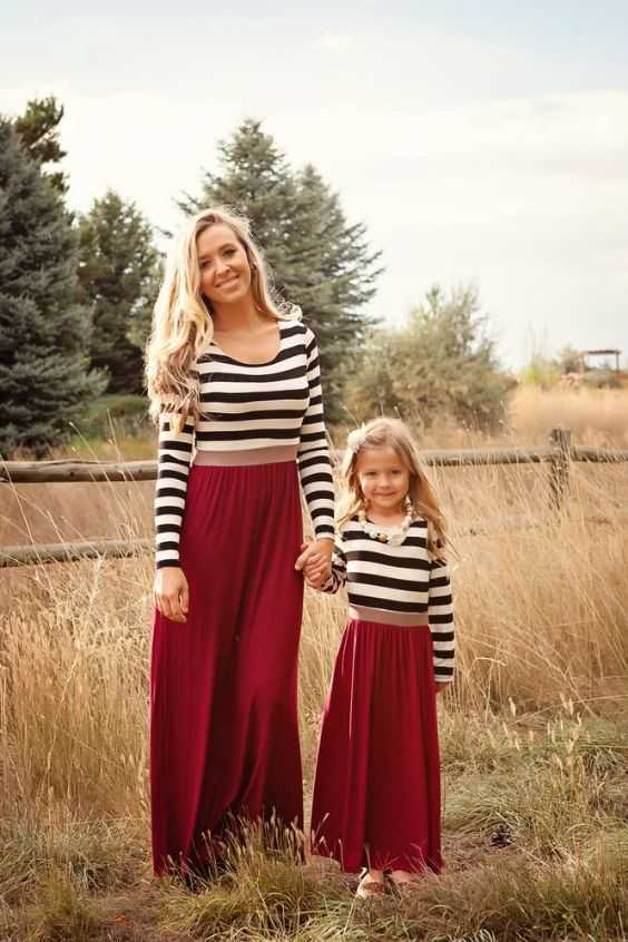 Mommy And Me Outfits: black and white striped long sleeve top, wine maxi skirt, necklace #outfit #blonde #mommy #chic