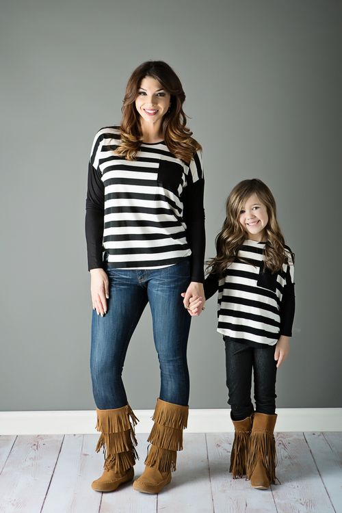 Mommy And Me Outfits: black and white striped shirt, skinny jeans, brown boots #outfit #mommy #girl #trendy