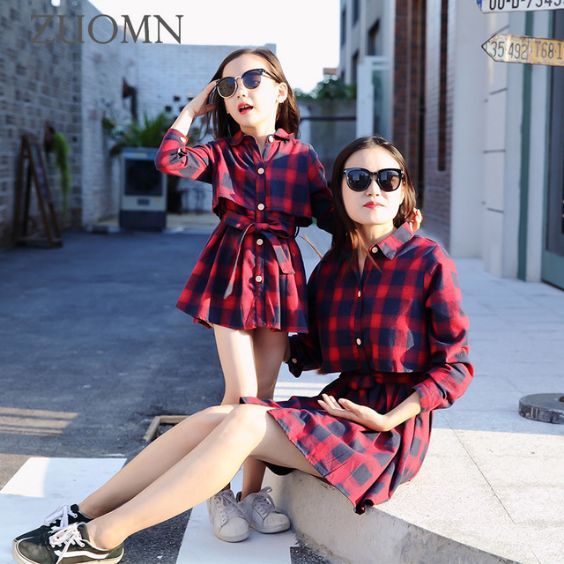 Mommy And Me Outfit: red and navy blue shirt dress, white sneakers, black and white sneakers, sunglasses #outfitideas #baby girl #mom #fashion