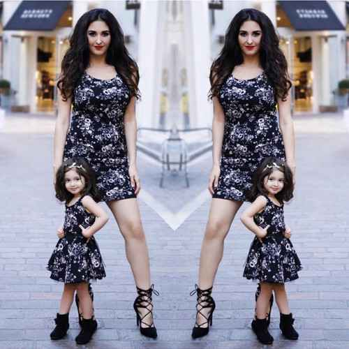 Mommy And Me Outfits: black sleeveless floral dress, black lace up heel sandals, black booties #outfit #black #floral #mommy