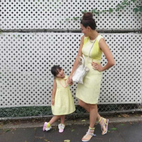 Mommy And Me Outfits: yellow dress, necklace, white ballerina flats, white sandals, white crossbody bag #outfitideas #pretty #girl #mom