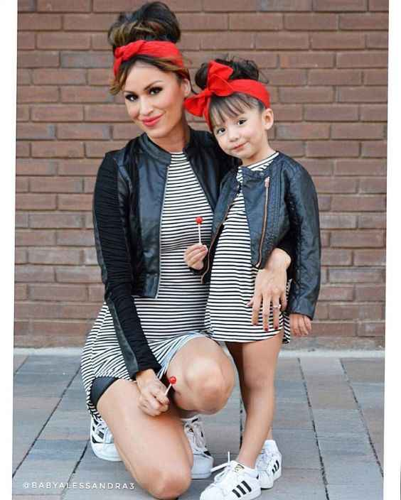 Mommy And Me Outfit: black and white striped mini dress, black faux leather jacket, red headband, white sneakers #outfit #mom #babygirl #fashion