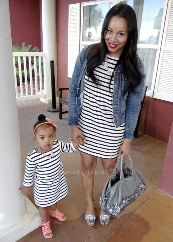 Mommy And Me Outfits: black and white striped dress, denim jacket, pink sandals, silver heel sandals, gray sequin handbag, necklace, pink headband #outfit #babygirl #mommy #makeup