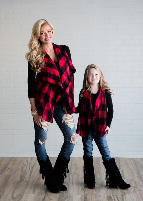 Mommy And Me Outfit: black long sleeve top, red plaid scarve, ripped jeans, black booties, bracelet #outfitideas #blonde #girl #trendy