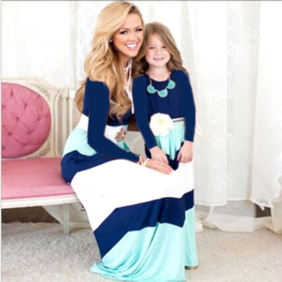 Mommy And Me Outfit: navy blue, light blue and white long sleeve maxi dress, necklaces, white belt #outfit #blonde #girl #mom