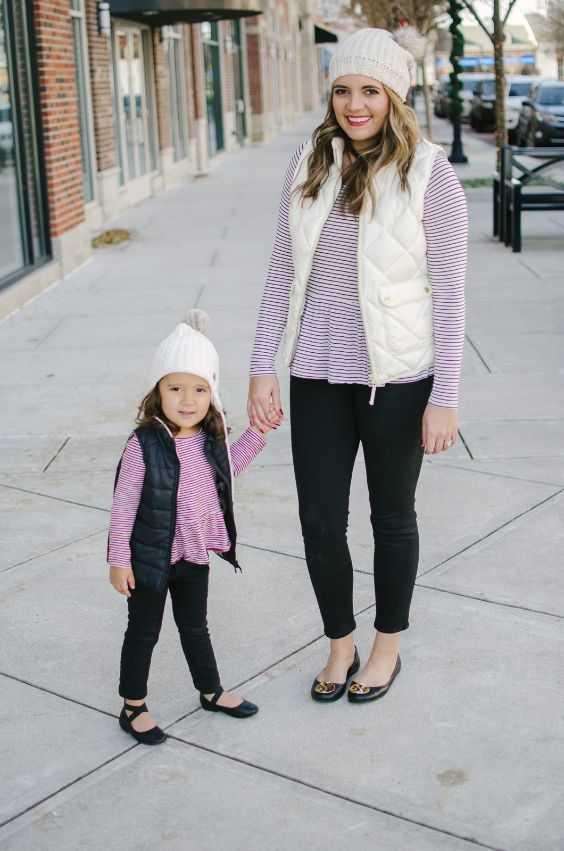 Mommy And Me Outfit: white and red striped long sleeve peplum shirt, black skinny pants, black ballerina flats, black/white sleeveless jacket, white winter hat #outfitideas #girl #mommy #trendy