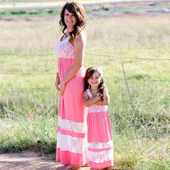Mommy And Me Outfits: pink and white lace sleeveless maxi dress, necklace, nude sandals #outfit #pink #babygirl #mommy