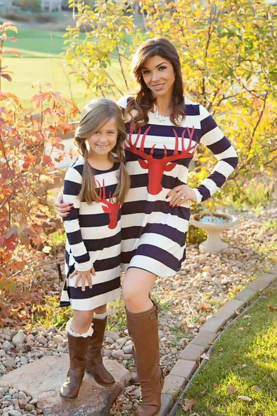Mommy And Me Outfits: navy blue and white striped long sleeve dress, brown boots #outfit #girl #trendy #prettygirl