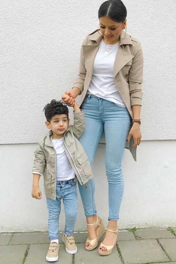 Mommy And Me Outfit: beige jacket, white t-shirt, jeans, beige sneakers, beige wedge sandals, hoop earrings #outfit #boy #fashion #mommy