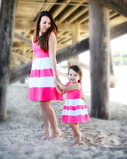 Mommy And Me Outfits: fuchsia and white sleeveless dress #outfitideas #beach #babygirl #mommy