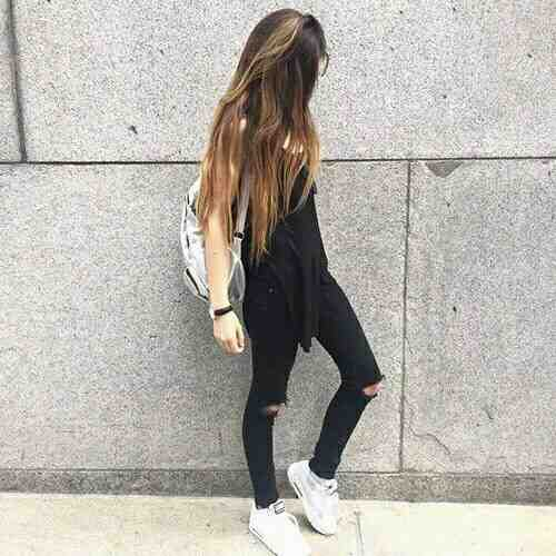 Outfits for school: black sleeveless top, black ripped jeans, white sneakers, denim bag #outfitoftheday #teen #longhair #fashion