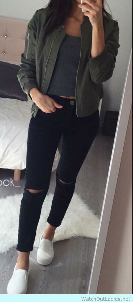 Outfits for school: army green jacket, dark gray top, black ripped jeans, white slip-on shoes #outfitoftheday #school #backtoschool #girl