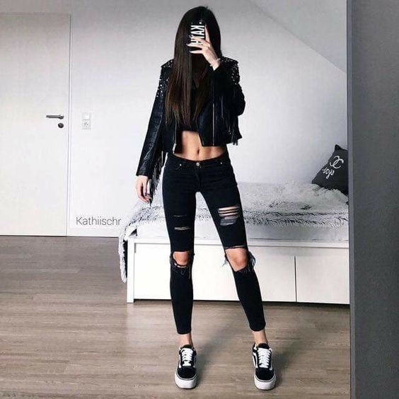 Outfits for school: black faux leather jacket, black crop top, black ripped jeans, black and white sneakers #outfitoftheday #blackoutfit #black #longhair