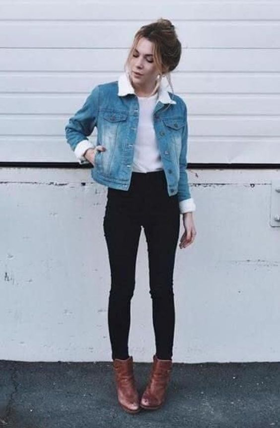 Outfits for school: denim jacket, white shirt, black skinny jeans, camel booties #outfit #hairstyle #girl #trendy
