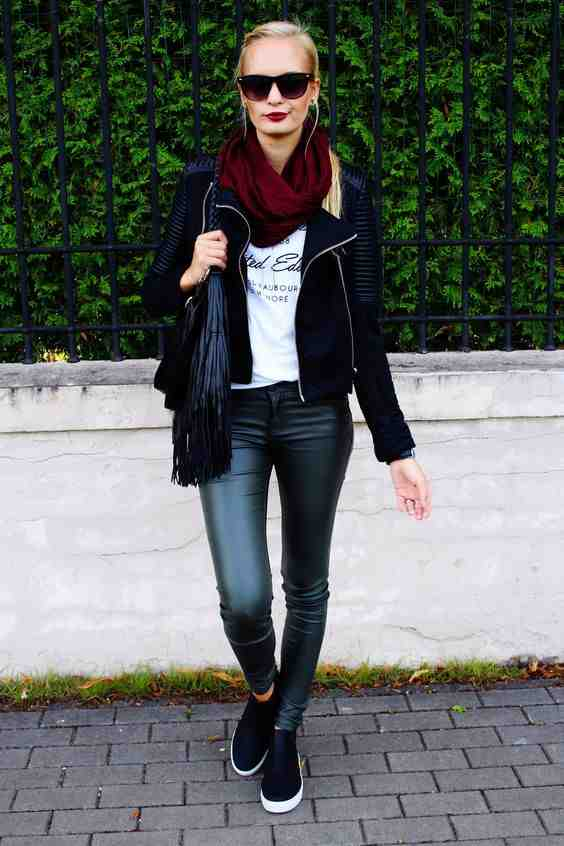 Outfits for school: black faux leather jacket, white shirt, black faux leather pants, black slip-on shoes, wine scarve, black bag, sunglasses #outfitoftheday #pretty #fashion #school
