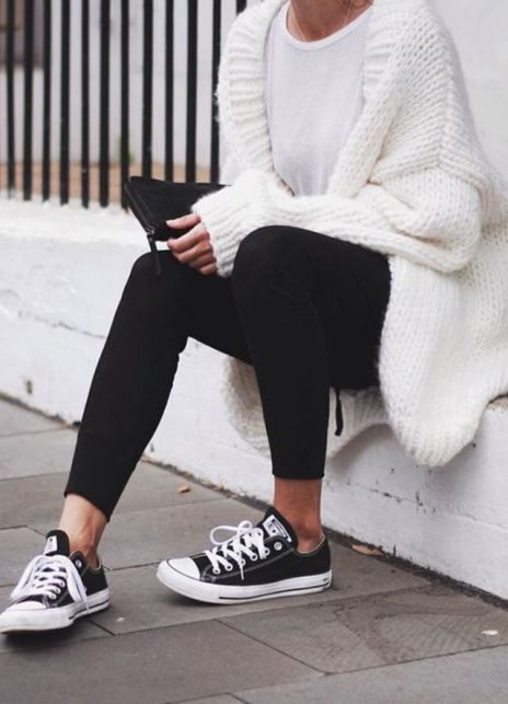 Outfits for school: white cardigan, white top, black leggins, black and white sneakers, black purse #outfit #white #girl #school