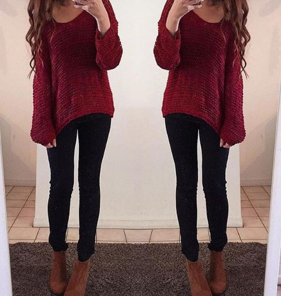 Outfits for school: wine bell sleeve crochet sweater, black skinny jeans, camel booties #outfit #girl #school #trendy