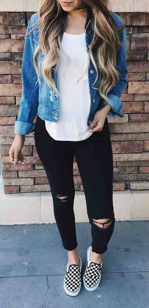 Outfits for school: denim jacket, white top, black ripped jeans, black and white checked slip-on shoes #outfitideas #longhair #girl #blonde