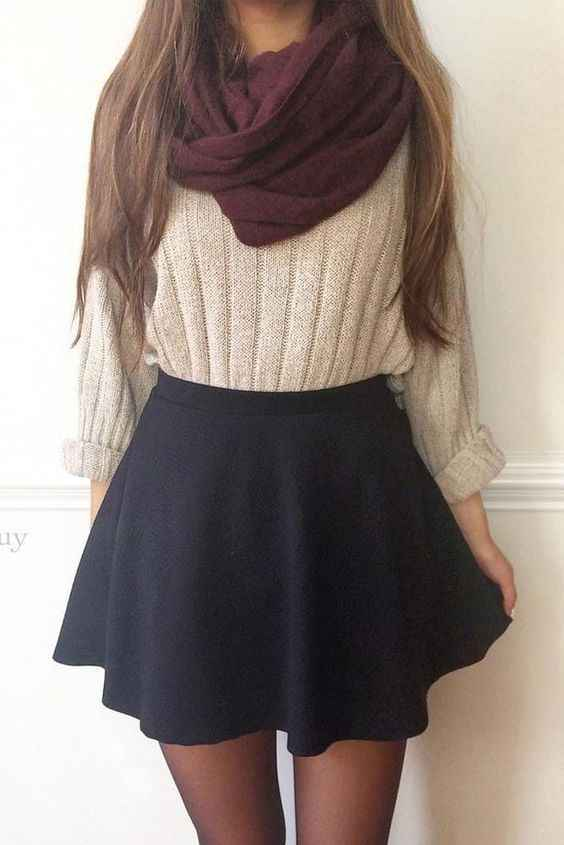 Outfits for school: wine scarve, beige sweater, black circle skirt, black tights #outfit #school #teen #girl