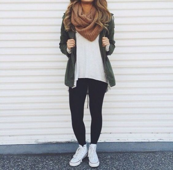 Outfits for school: army green jacket, white top, black skinny jeans, white sneakers, brown scarve #outfitoftheday #teen #cute #fashion