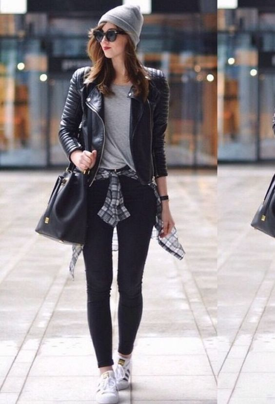 Outfits for school: black faux leather jacket, gray shirt, black skinny jeans, black winter hat, black bag, white sneakers, gray lumberjack shirt, sunglasses #outfit #girl #teen #trendy