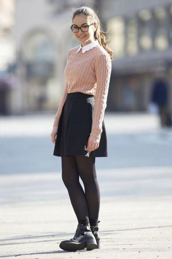 Outfits for school: light brown sweater, black circle skirt, black tights, black booties #outfitoftheday #glasses #girl #school