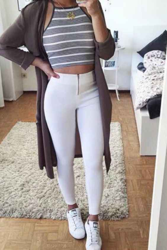 Outfits for school: gray and white striped halter crop top, white high waisted pants, white sneakers, dark gray longline cardigan, necklace #outfitoftheday #girl #gray #croptop