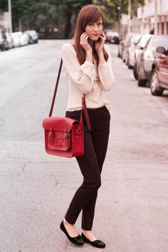 Outfits for school: beige cuff sleeve blouse, brown pegged pants, black ballerina flats, red bag #outfitideas #girl #school #makeup