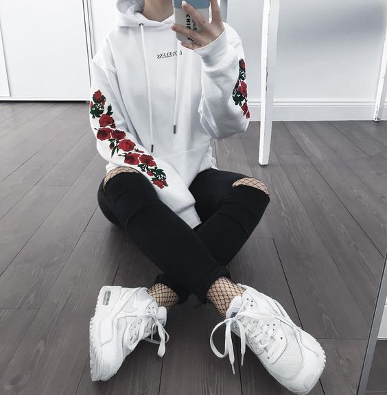 Outfits for school: white floral hoodie, black ripped jeans, black fishnet tights, white sneakers #outfitideas #backtoschool #fashion #teen